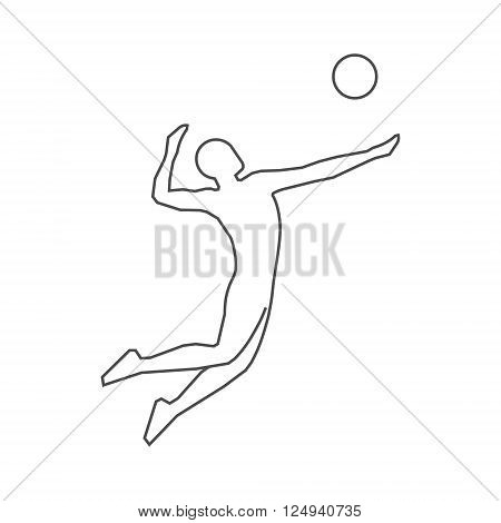 Black line volleyball icon. Vector silhouette of volleyball players. Modern outline volleyball logo.