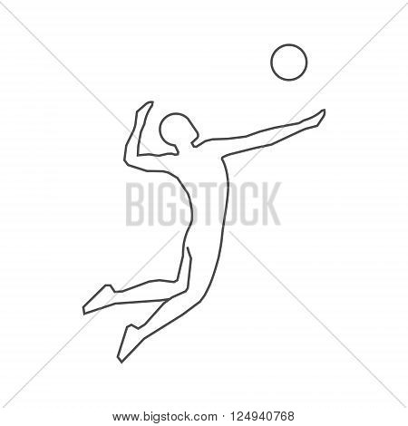 Vector black volleyball icon. Volleyball players outline silhouette. Modern line volleyball logo.