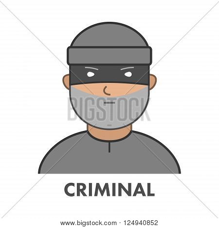 Modern icon theft. Vector symbol of burglar. Flat character robber.