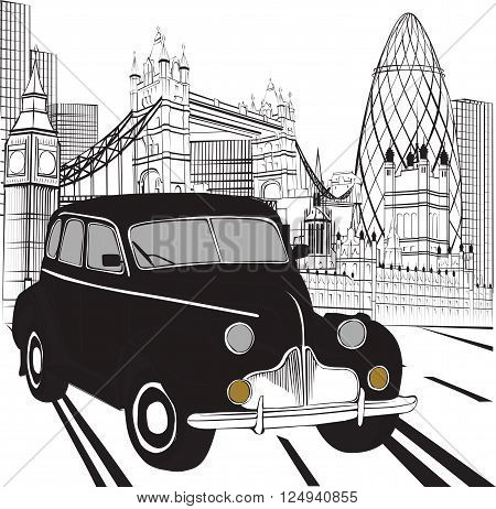 black and white sketch with London taxi