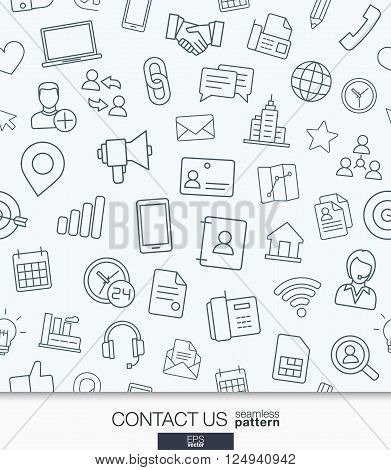 Contact us wallpaper. Black and white communication seamless pattern. Tiling textures with thin line web icons set. Vector illustration. Abstract background for mobile app, website, presentation.