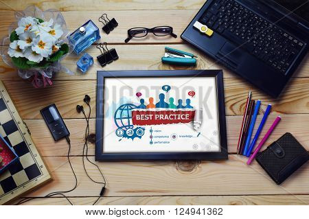 Best Practice Design Concept And Group Of People On Wooden Office Desk.