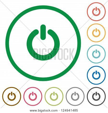 Set of Power switch color round outlined flat icons on white background