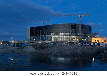 Copenhagen, Denmark - April 07, 2016: Construction of the Royal Arena, an upcoming multi-use indoor arena with a capacity for 12 500 spectators.