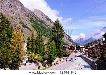 Mountain Resort Town of Zermatt (Canton of Valais, Southern Switzerland) on the Banks of Vispa River