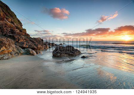 Stunning Sunrise At Pentewan In Cornwall