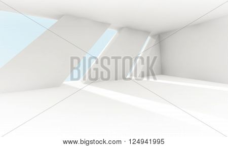 Empty White Interior With Windows, Abstract 3D