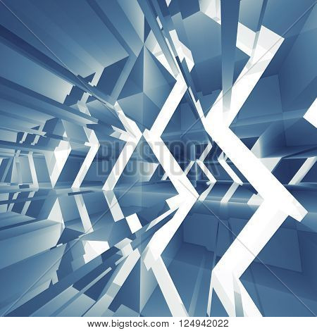 Abstract Blue Square Digital Background 3D Art