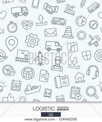 Logistic business wallpaper. Delivery and distribution seamless pattern. Tiling textures with thin line web icons set. Vector illustration. Abstract background for mobile app, website, presentation
