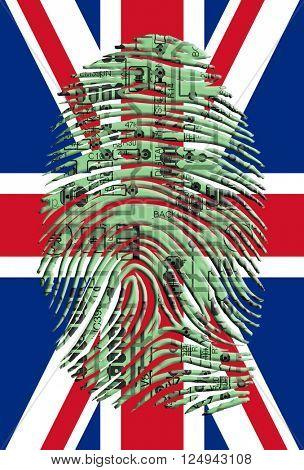 UK Flag with Circuit Board Fingerprint