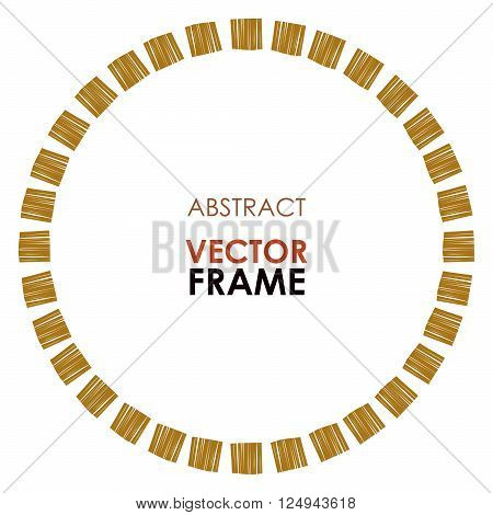 Abstract vector frame. Ethnic circle frame, hand drawn. African tribal vector striped frame