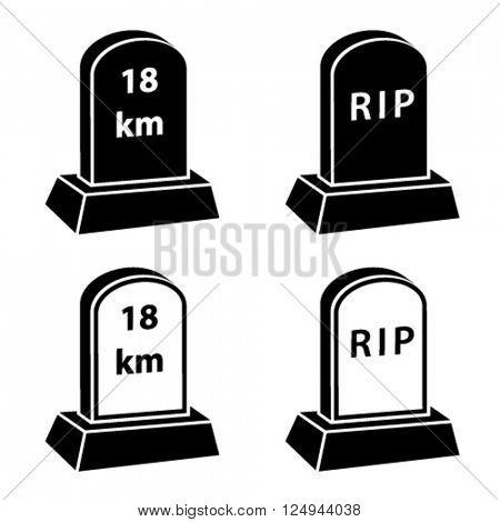 vector 3d milestone tombstone black symbols
