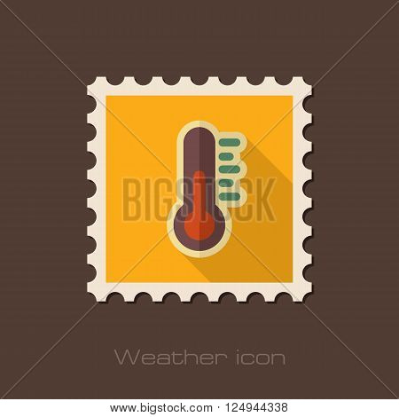 Thermometer flat stamp. Meteorology. Weather. Vector illustration eps 10
