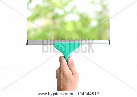 Equipment for cleaning glass in hand isolated on white background.
