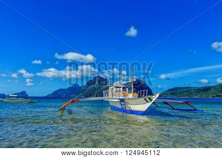 Sailboat in El Nido. Palawan Island in the Philippines.