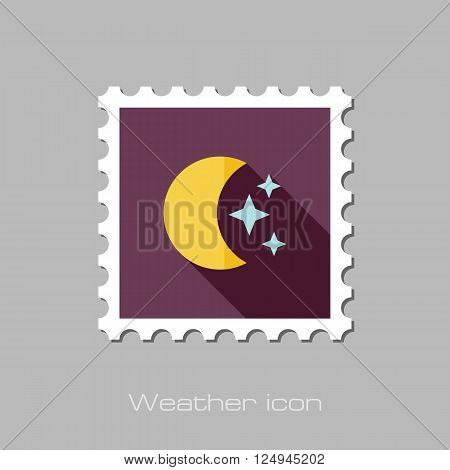Moon and stars flat stamp. Sleep dreams symbol. Meteorology. Weather. Vector illustration eps 10