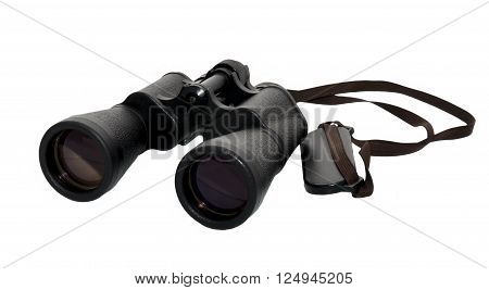Hunting binoculars black shoulder bag on a white background lying down