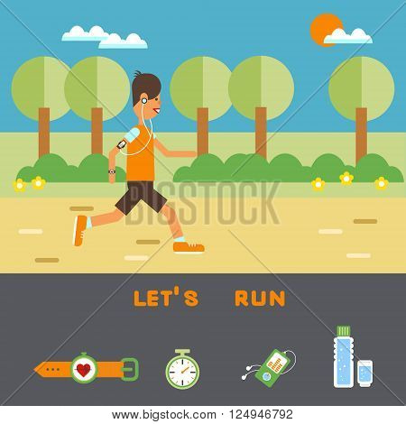 Vector flat design on fitness workout running man in summer clothing place for your text with elements: stopwatch bottle of water player cardio monitor.