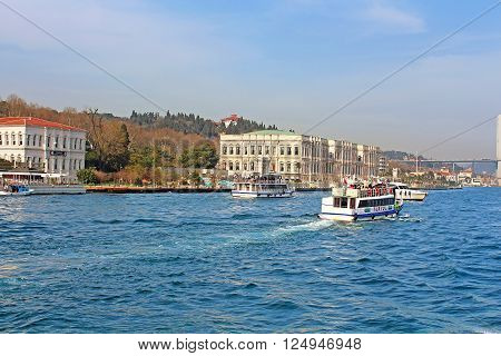 ISTANBUL, TURKEY - MARCH 30, 2013: Ciragan Palace in Istanbu,l Turkey. Ciragan Palace a former Ottoman palace is now a five-star hotel in the Kempinski Hotels chain. It is located on the European shore of the Bosporus in Istanbul, Turkey