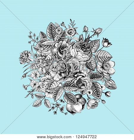 Vintage floral vector bouquet with Black & White summer garden flowers on mint background.