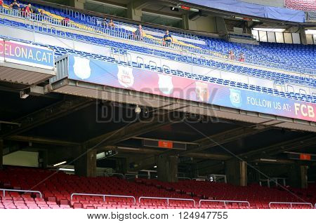 CAMP NOU BARCELONA SPAIN -MAY 4 2015 billboards inside the stadium of Fc Barcelona