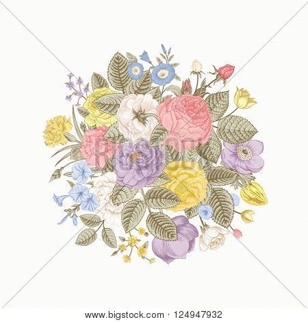 Vintage floral vector bouquet with colorful summer garden flowers. Pastel color.