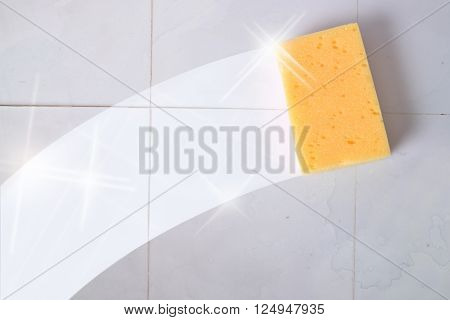 Cleaning concept trace yellow sponge on a dirty gray wall tiles. Horizontal composition.