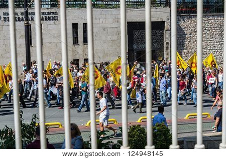 ISTANBUL TURKEY - SEPTEMBER 24: People demonstration against president Erdogan at September 24 2014 in Istanbul Turkey
