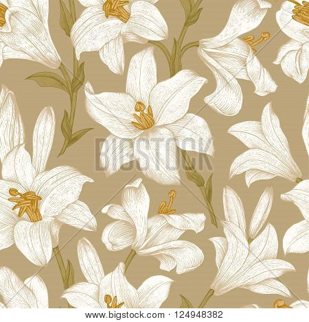 Seamless vector floral pattern. White royal lilies flowers on a brown background.