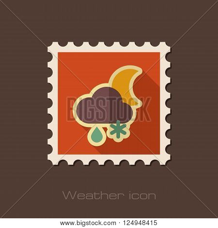 Cloud with Snow and Rain Moon flat stamp. Meteorology. Weather. Vector illustration eps 10
