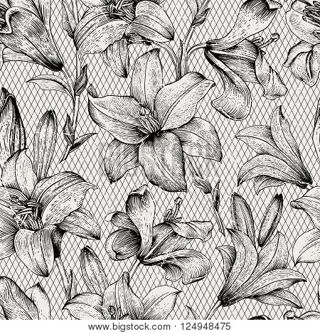 Seamless vector floral pattern. Royal lilies flowers. Black and white graphics. Monochrome.