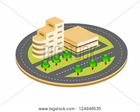City isometric houses roads with streets concept town