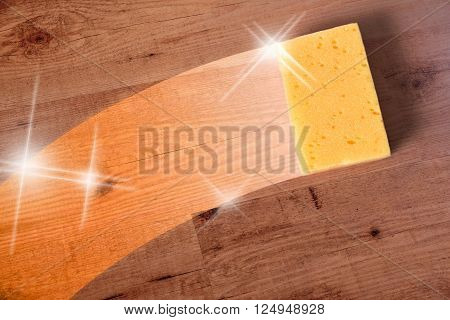 Cleaning wooden parquet concept with trace yellow sponge. Horizontal composition.