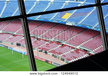 CAMP NOU BARCELONA SPAIN -MAY 4 2015 view from the Camp Nou press room of Barcelona before an outstanding match against FC Barcelona