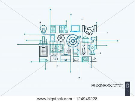 Business integrated thin line symbols. Motion arrows vector concept, with connected flat design icons. Illustration for strategy, service, analytics, research, career, digital marketing concepts