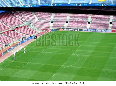 CAMP NOU BARCELONA SPAIN -MAY 4 2015 view of the Camp Nou in Barcelona before an important match of the FC Barcelona