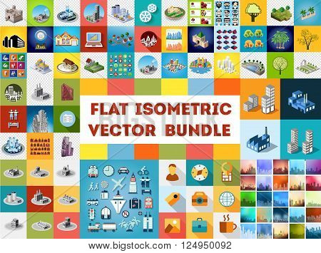 Big bundle set of design templates, design elements, isometric objects buildings