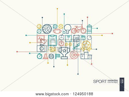 Sport integrated thin line symbols. Modern linear style vector concept, with connected flat design icons. Abstract background illustration for training, tennis, bicycle, soccer, rugby, fitness concept