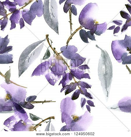 Watercolor and ink illustration of violet flowers in style sumi-e u-sin gohua. Oriental traditional painting. Seamless pattern.