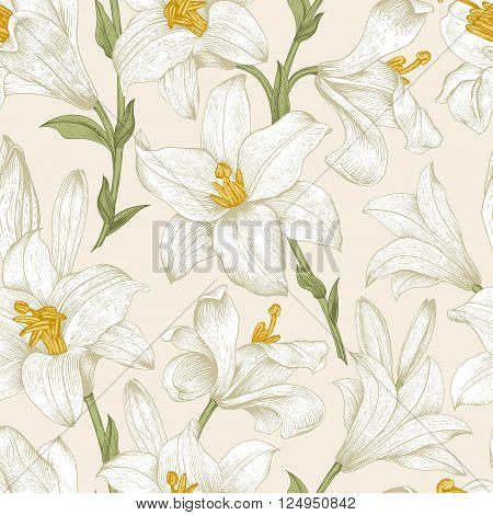 Seamless vector floral pattern. White royal lilies flowers on a beige background.