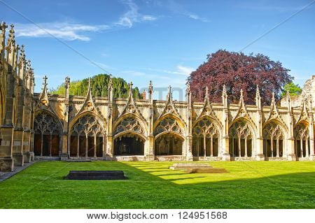 Cloister Garden in Canterbury Cathedral in Canterbury in Kent of England. It is one of the most famous cathedrals in England. It is the Archbishop of Canterbury Cathedral.