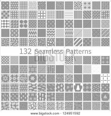 Set of seamless retro vector geometric, polka dot, floral, decorative patterns. Vector design EPS10 Endless texture can be used for wallpaper, pattern fills, web page background, textures etc.