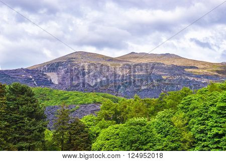 View to a mountains in Snowdonia National Park in North Wales of the United Kingdom. Snowdonia is a mountain range and a region in North of Wales.