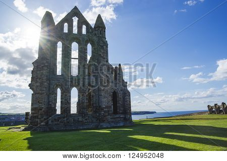 Whitby Abbey at sunset in North Yorkshire in England. It is ruins of the Benedictine abbey. Now it is under protection of the English Heritage.