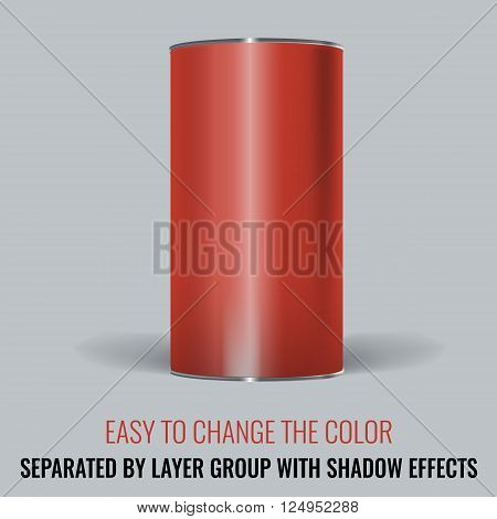 Red Blank Tincan packaging. Vector Mock up design for gift box, tea, coffee, dry products. Separated by layer group with transparency and shadow effects. Easy to change the color.
