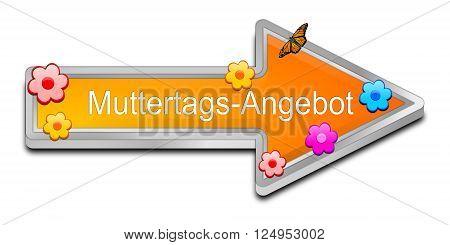 decorative orange Mother's Day offer 3D Illustration - in german