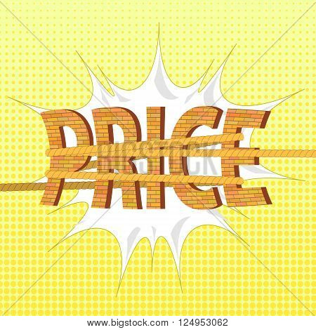 Related Orange Brick Letters on Yellow Halftone Background. Price Concept
