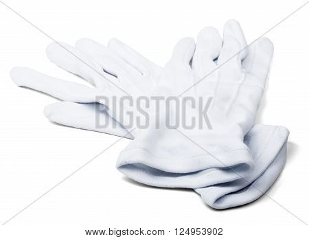Pair of butlers white gloves isolated on white background