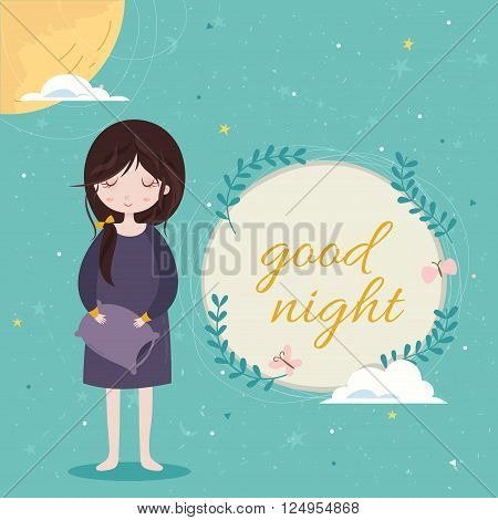 Good night card. Cute girl in the sleepwear holding pillow. Blue sky background with constellation pattern. Frame with wreaths and text.