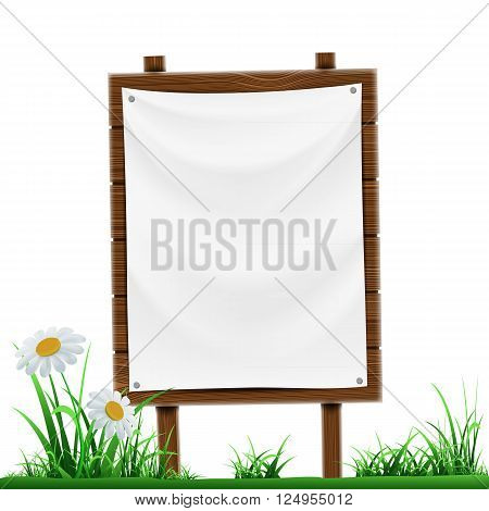 Wooden sign with white banner. Isolated on white background. Stock vector illustration.